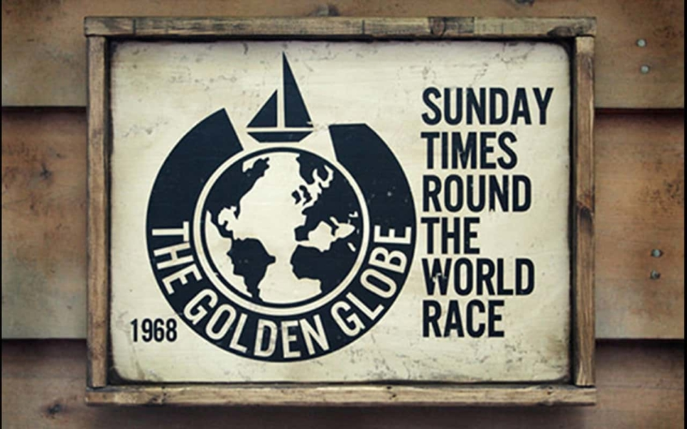 Circa 1968. the original sign and logo advertising the 1968/9 Sunday Times Round the World Race. The race was won by Robin Knox-Johnston with his 32ft ketch rigged yacht SUHAILI with a time of 312 days. Knox-Johnston was the sole finisher in the race and the first to sail solo non-stop around the world