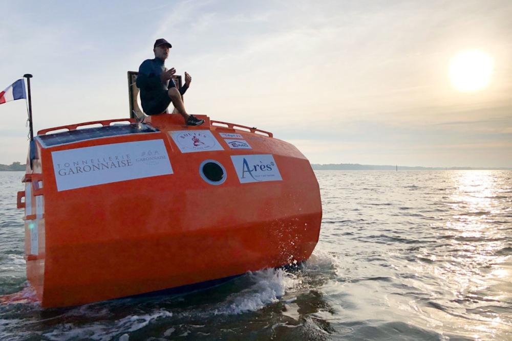 In diesem Fass überquert der 72-jährige Jean-Jacques Savin den Atlantik © TESA