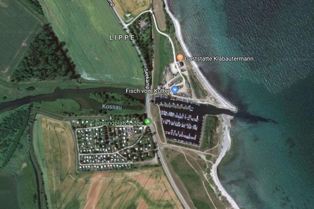 Die Yachthafen Lippe ist versandet © Kartendaten Google, GeoBasis-DE/BKG