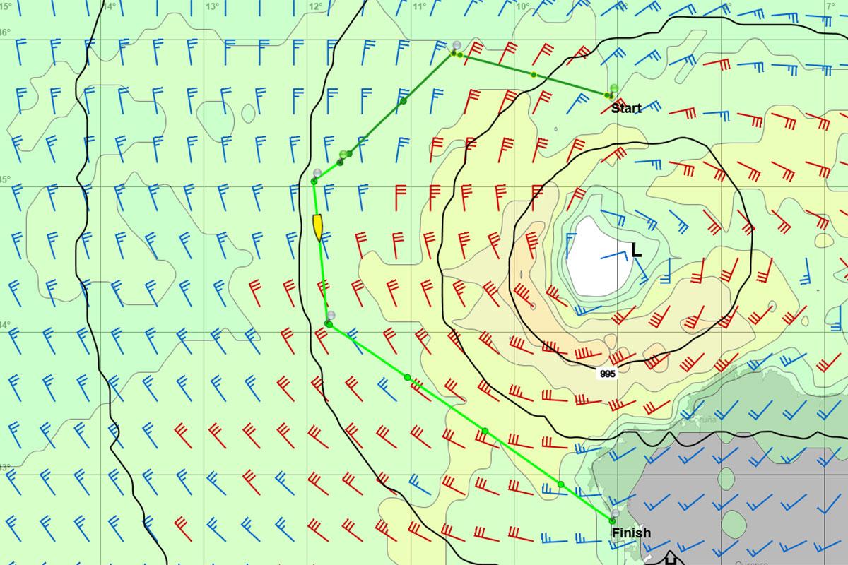 WetterWelt GRIB-Daten zeigen das Tief nördlich von A Coruna. Eingezeichnet ist der Routenvorschlag. START zeigt die Position der Yacht bei Kontaktaufnahme