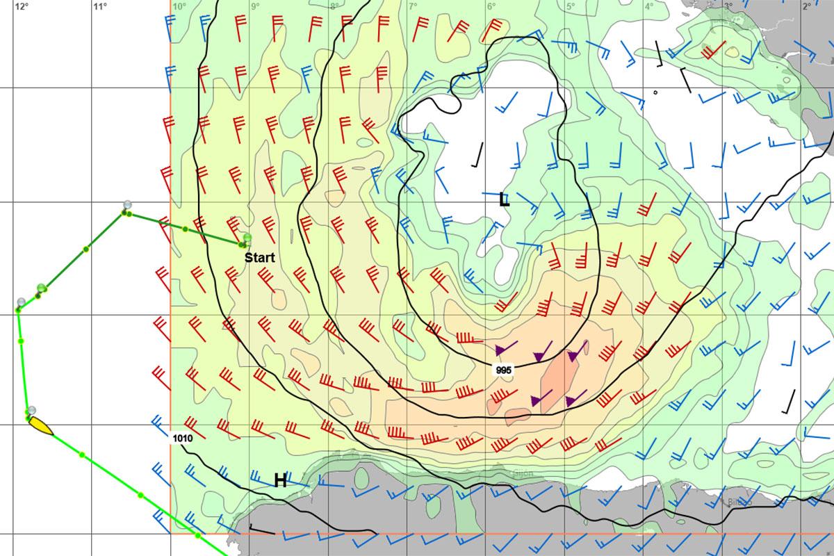 WetterWelt GRIB-Daten der Biskaya zeigen das Tief 2 Tage nach dem Anruf deutlich intensiviert