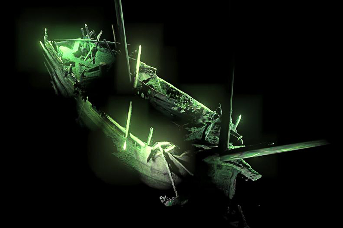 Der Bug des des unbekannten Schiffswracks. Deep Sea Productions / MMT
