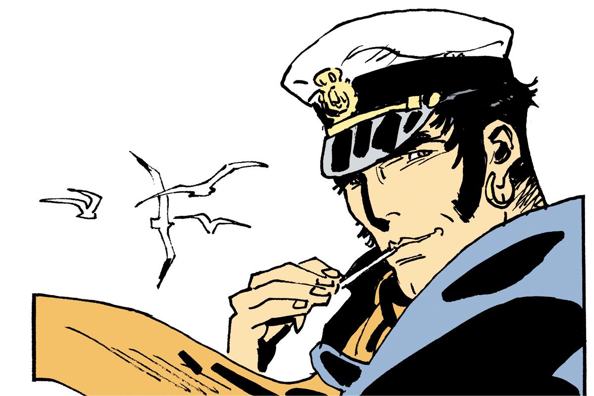 Zigarettenwerbung: Corto Maltese hat immer eine Fluppe im Mundwinkel, doch das schadet ihm nicht: Sein gesamtes Comic-Leben hindurch sieht er blendend aus.
