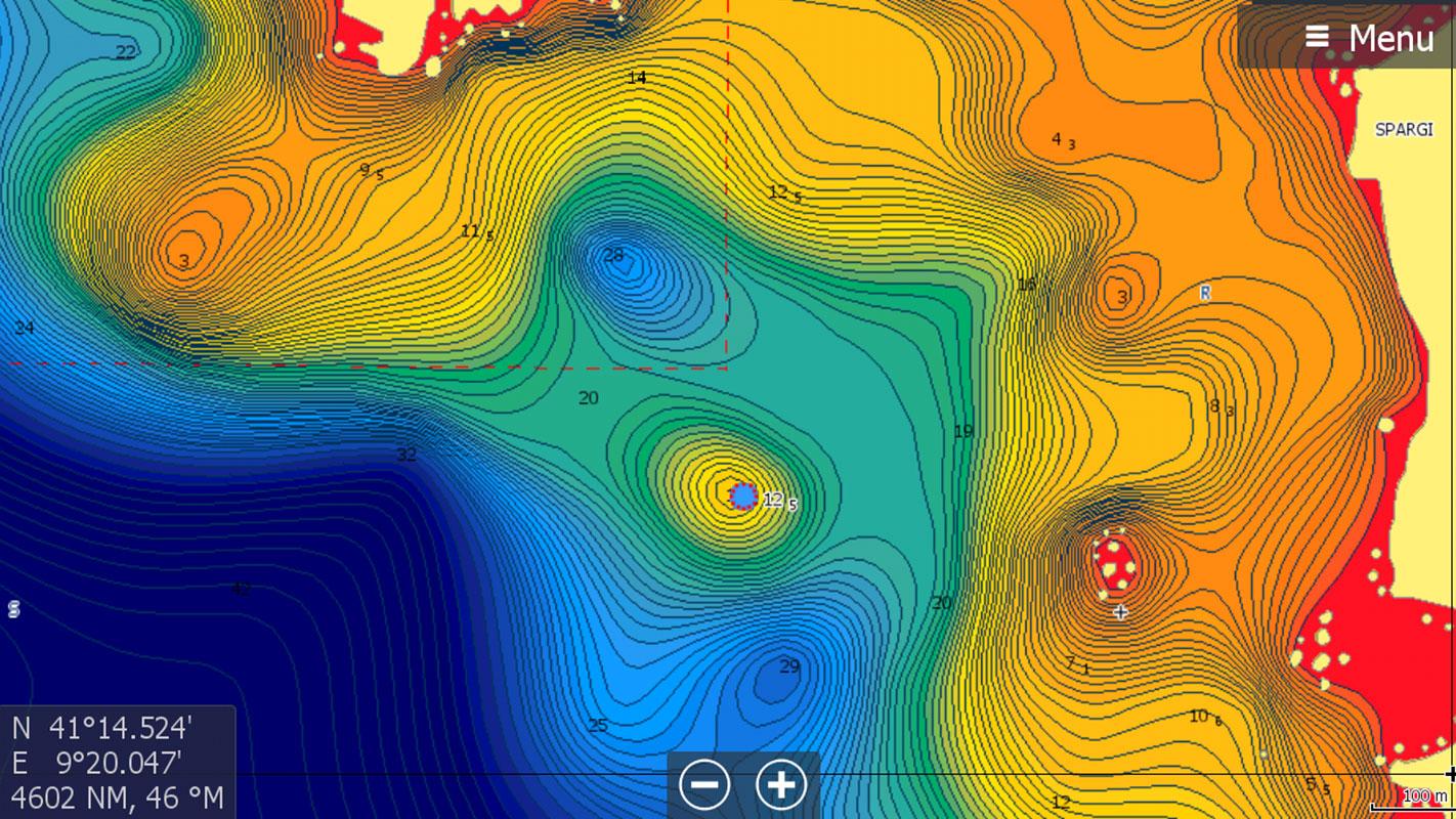So exakt gibt die C-MAP MAX N+ die Tiefenlinien auf Seekarten wieder