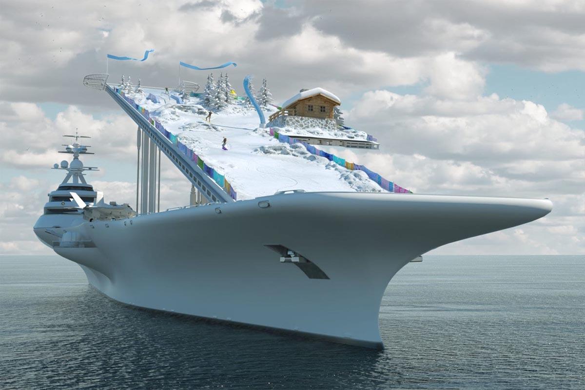 Frankenstein-Schiff: Mischung aus Flugzeugträger und Megayacht