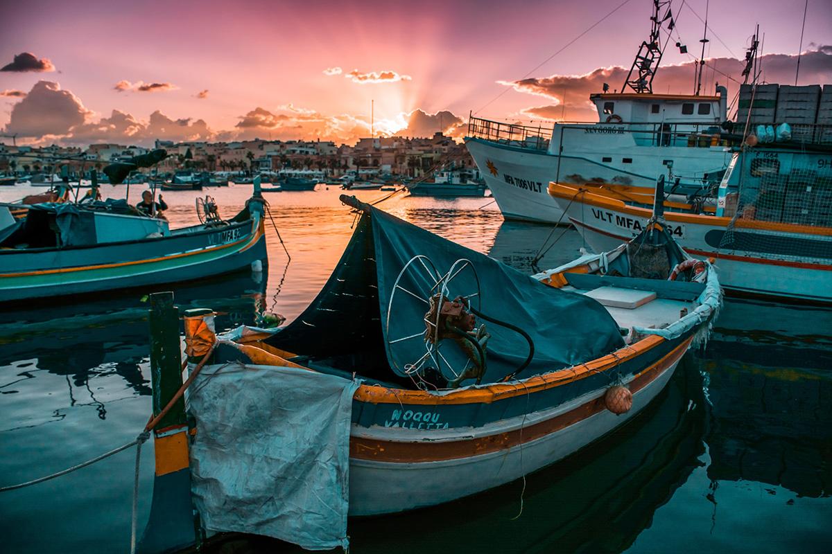 Fischerboote in Marsaxlokk Bay