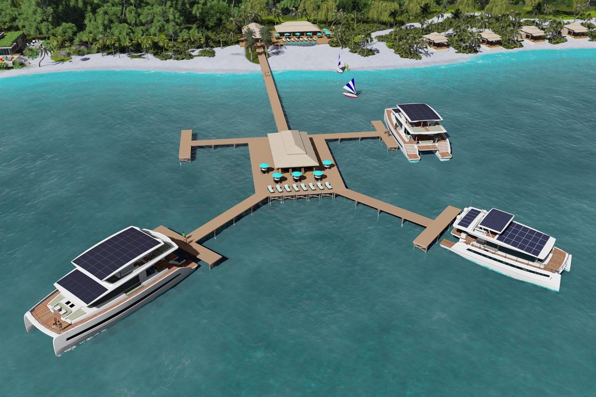 Silent Resorts ist ein schwimmendes Luxushotel, als Suiten dienen die Solarkatamarane von Silent Yachts © Hersteller