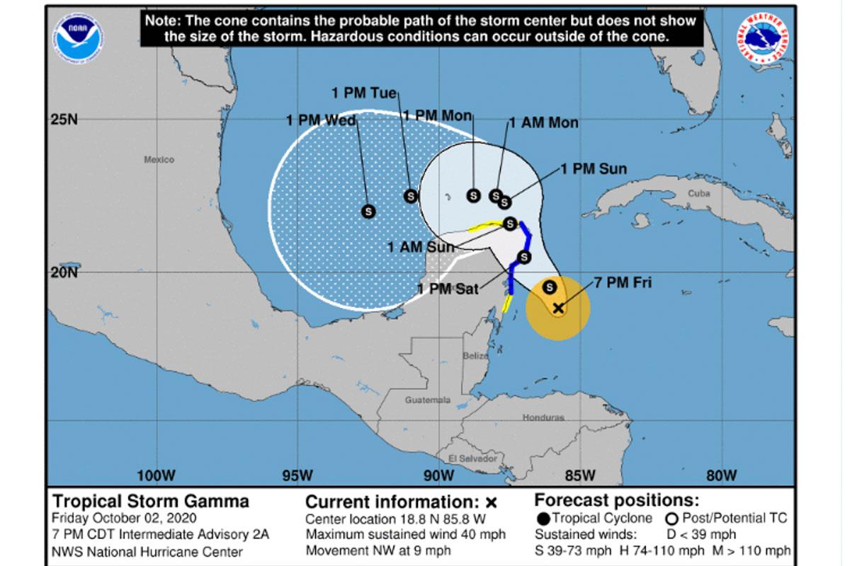 Die Karte zeigt die Richtung, welche der zerstörerische Hurrikan Gamma nahm