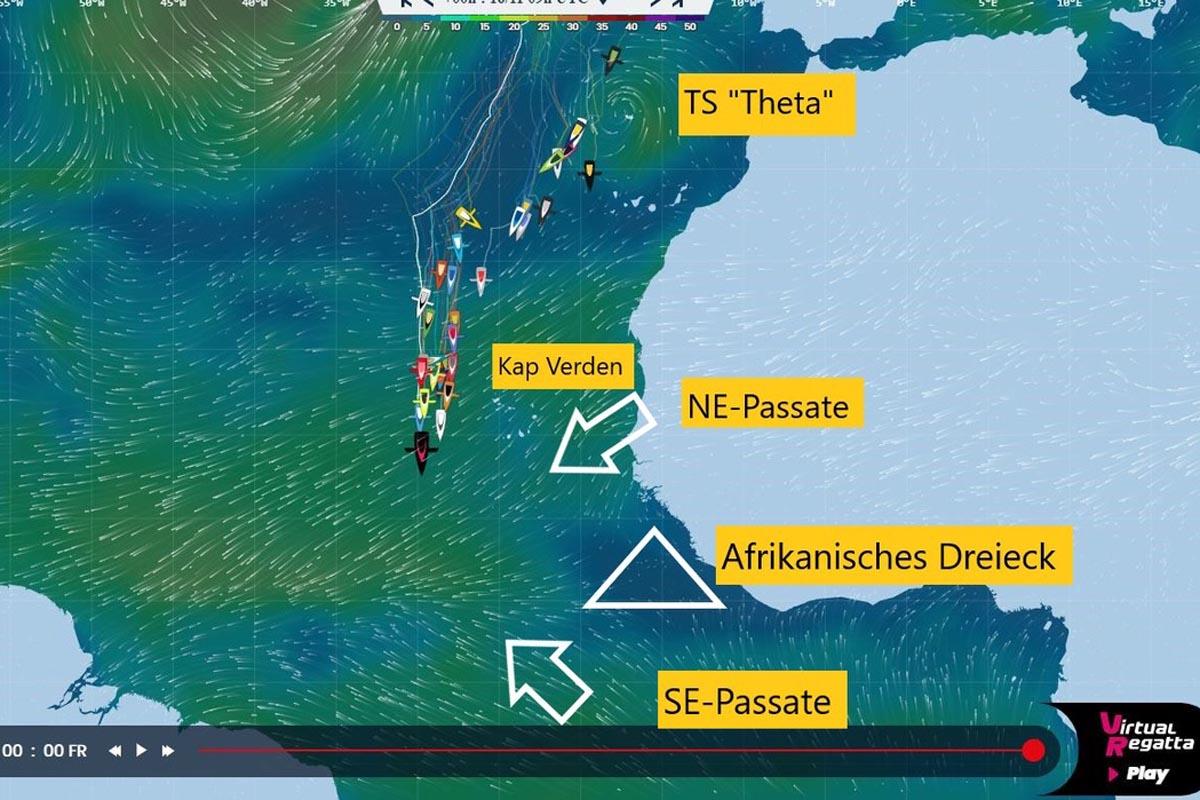 Regatta-Wetter: Bei der Südwestspitze Afrika liegt das windarme afrikanische Dreieck