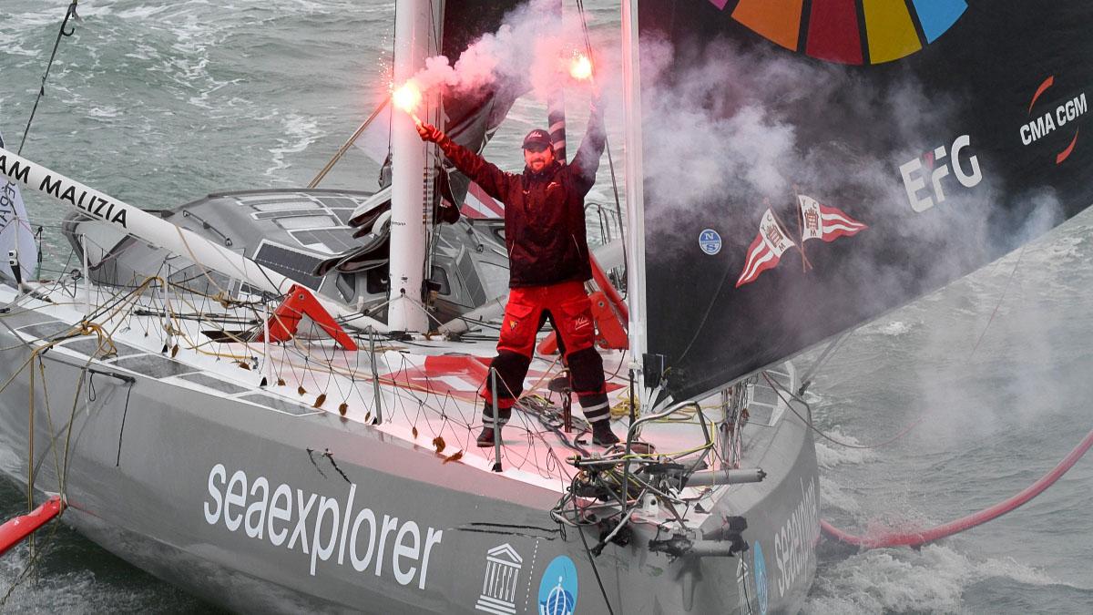 Boris Herrmann im Ziel der Vendee Globe