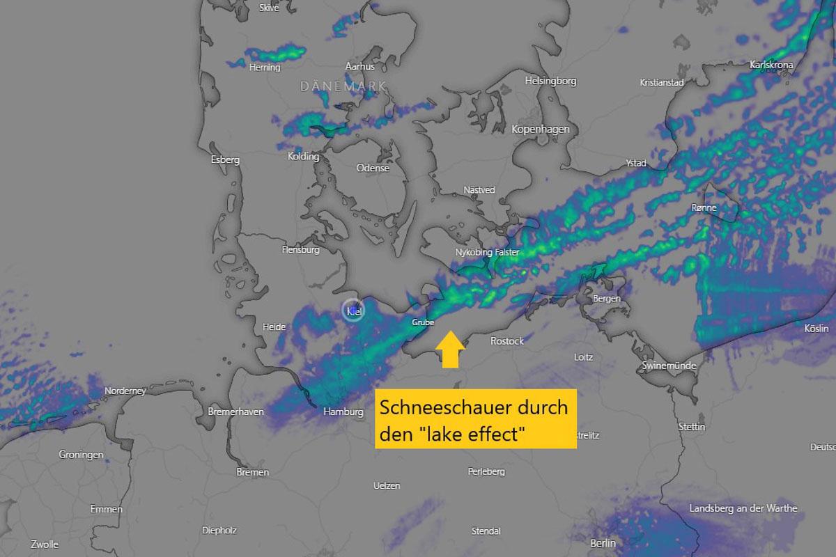 Über die Ostsee strömt besonders kalte Luft