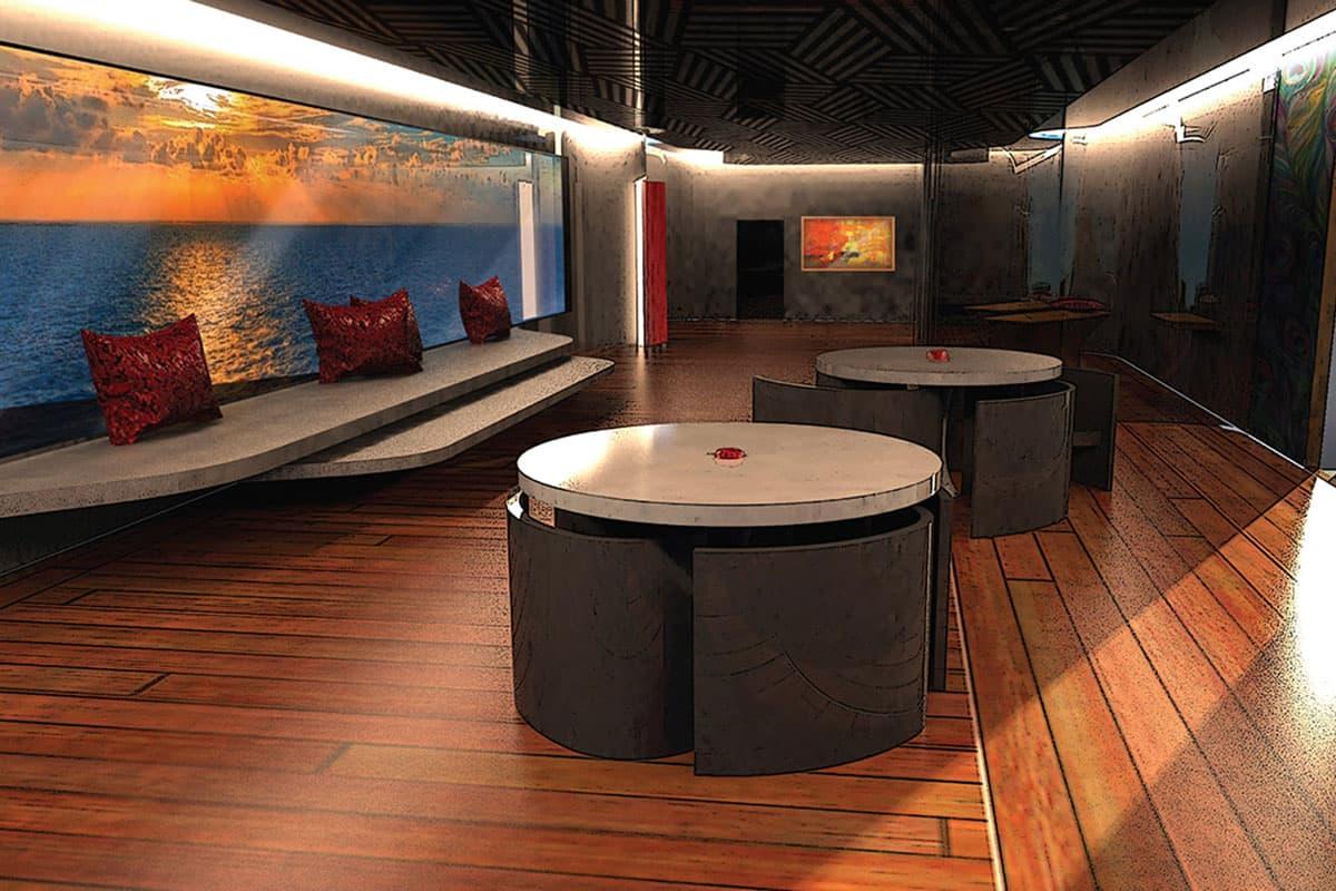 Der Innenraum der Yacht in grau und weiß