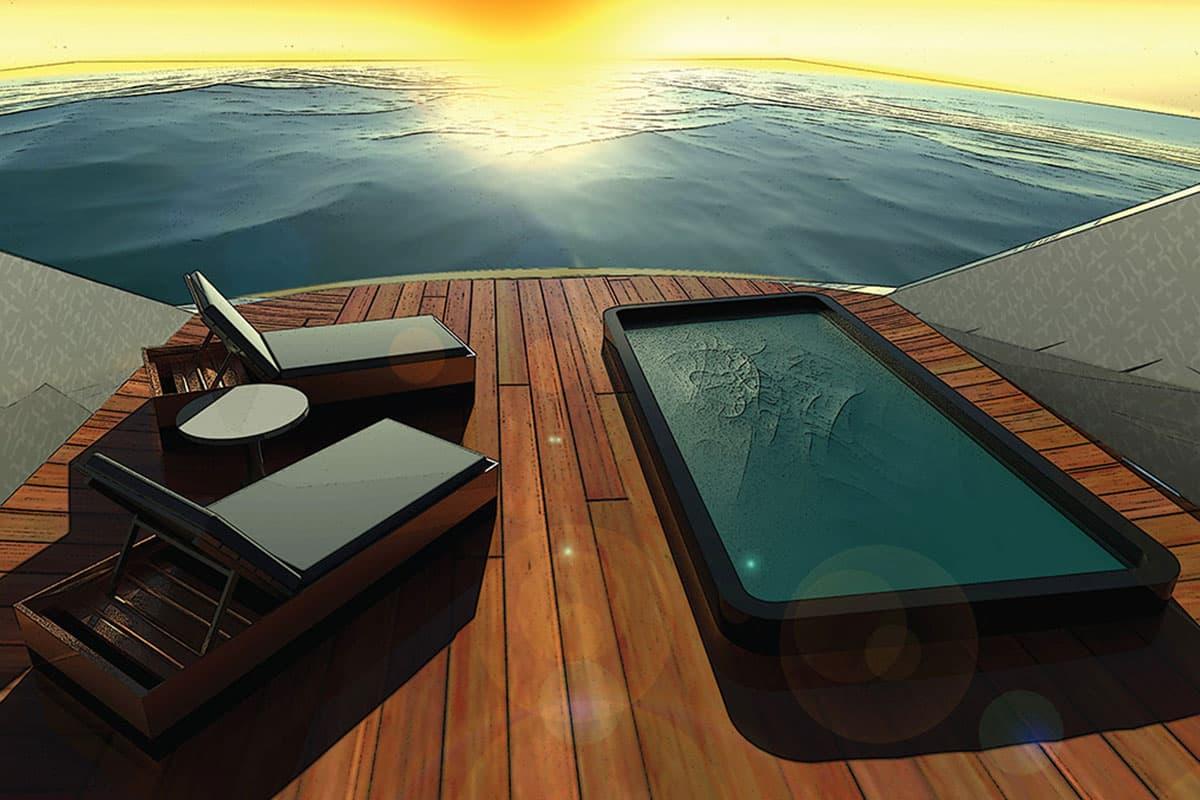 Das Heck der Yacht
