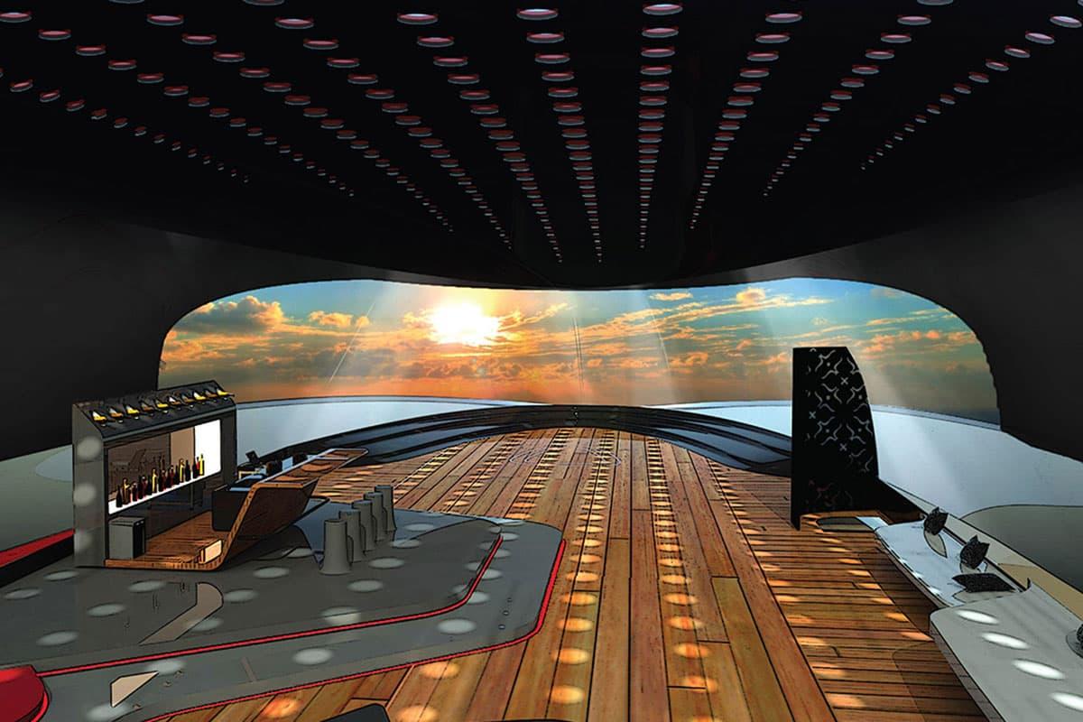 Das Lichtudrchlässige Dach der Luxusyacht
