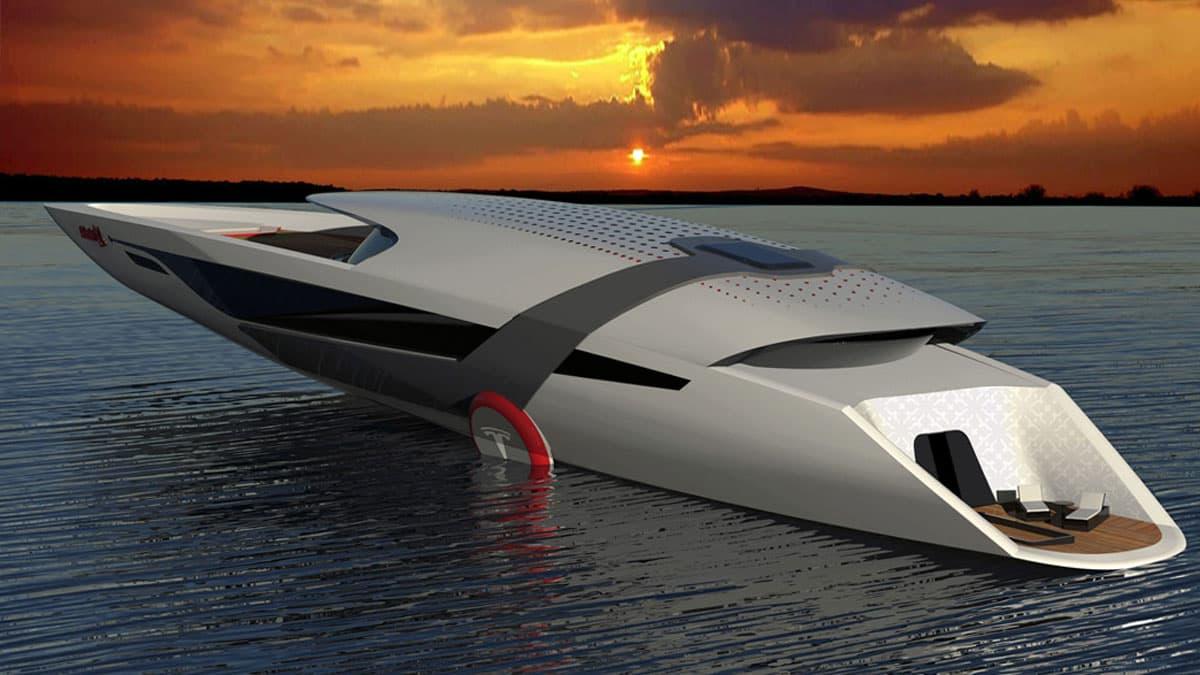 Pfeil auf den Wellen: Die Tesla-Yacht hat mehr Über- als Unterwasserschiff
