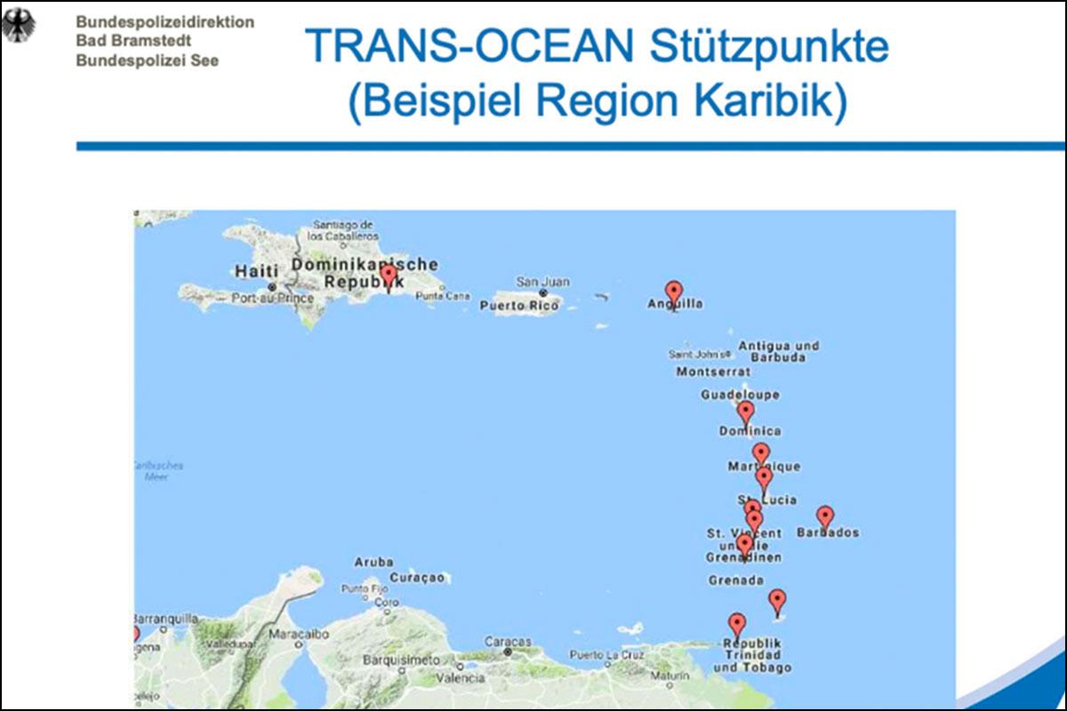 Karte der Trans-Ocean Stütspunkte in der Beispielregion Karibik