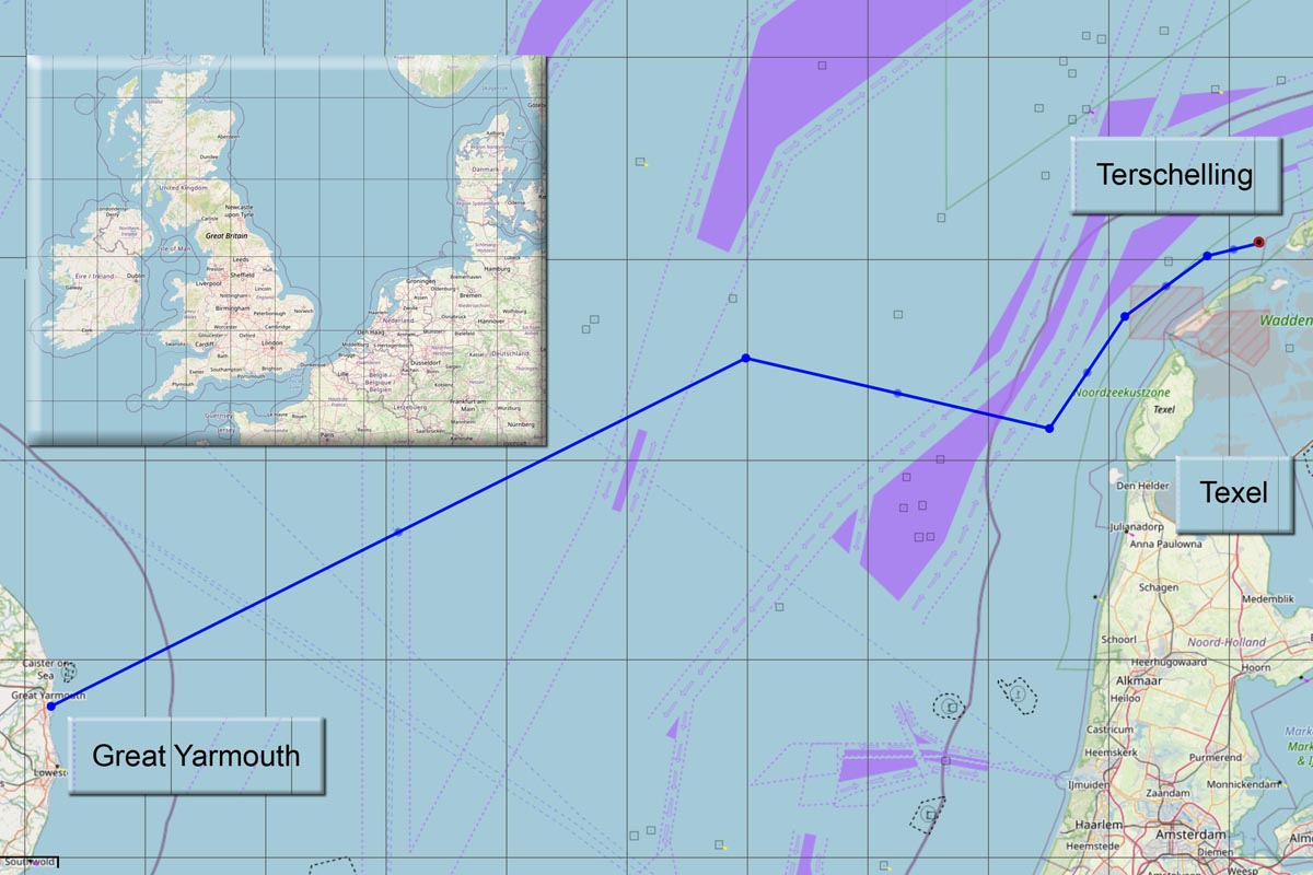 Der letzte Kurs der Lutine von Great Yarmouth über die Nordsee Richtung Cuxhaven