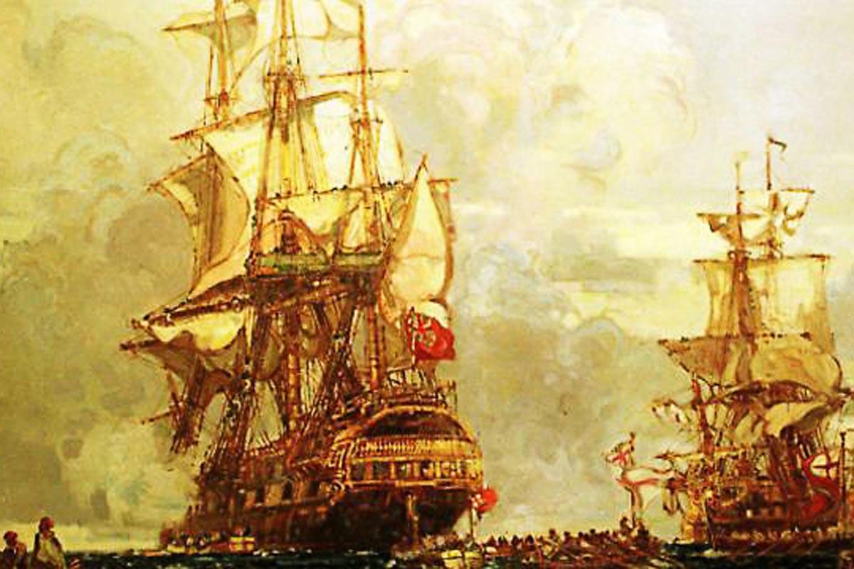 Die Lutine (links) unter britischer Seekriegsflagge